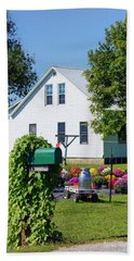 Bath Towel featuring the photograph Amish House With Mums by Cricket Hackmann