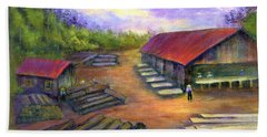 Hand Towel featuring the painting Amish Lumbermill by Gail Kirtz