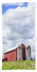 Amish Red Barn And Silos Hand Towel