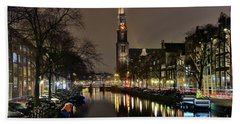 Amsterdam By Night - Prinsengracht Bath Towel