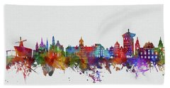 Amsterdam City Skyline Watercolor 2 Hand Towel