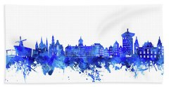 Amsterdam Skyline Watercolor Blue Hand Towel