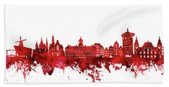 Amsterdam Skyline Watercolor Red Hand Towel