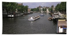 Amsterdam Water Scene Hand Towel by Sally Weigand