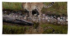 Amur Leopard Reflection Bath Towel
