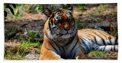 Bath Towel featuring the mixed media Amur Tiger 10 by Angelina Vick