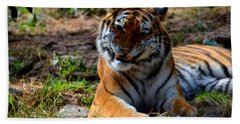Hand Towel featuring the mixed media Amur Tiger 4 by Angelina Vick