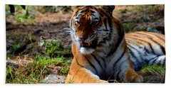 Hand Towel featuring the mixed media Amur Tiger 5 by Angelina Vick