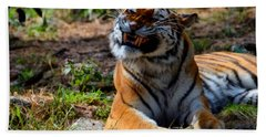 Hand Towel featuring the mixed media Amur Tiger 6 by Angelina Vick