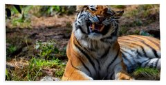 Bath Towel featuring the mixed media Amur Tiger 7 by Angelina Vick