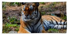 Bath Towel featuring the mixed media Amur Tiger 8 by Angelina Vick
