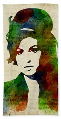 Amy Winehouse Watercolor Bath Towel