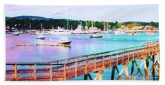 An Abstract View Of Southwest Harbor, Maine  Hand Towel