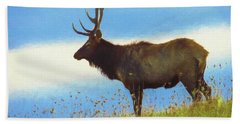 An Artistic View Of A Large Bull Elk Standing Alone On A Hill To Bath Towel