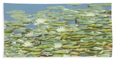 An Artistic View Of Many Lillypad Blossom In A Beautiful Group. Bath Towel
