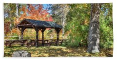 Bath Towel featuring the photograph An Autumn Picnic In Maine by Shelley Neff