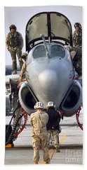 An Ea-6b Prowler Is Prepared For Launch Hand Towel