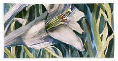 Hand Towel featuring the painting An Easter Lily by Mindy Newman