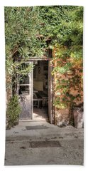 Bath Towel featuring the photograph An Entrance In Santorini by Tom Prendergast