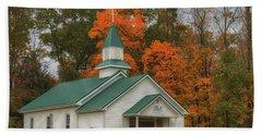 An Old Ohio Country Church In Fall Bath Towel