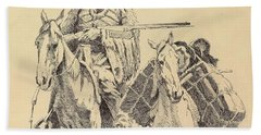 An Old Time Mountain Man With His Ponies Hand Towel