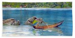 Bath Towel featuring the painting Anak Dan Perahu by Melly Terpening