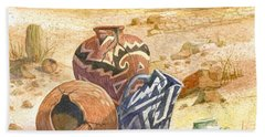 Hand Towel featuring the painting Anasazi Remnants by Marilyn Smith