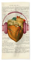 Anatomical Heart And Headphonesin Color  Bath Towel