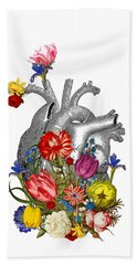 Anatomical Heart With Colorful Flowers Hand Towel
