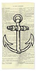 Anchor Black Lines Old School Illustration Bath Towel