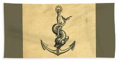Bath Towel featuring the drawing Anchor Vintage by Edward Fielding