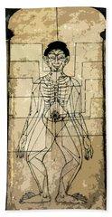 Ancient Art Mural Depicting The Sen Lines Bath Towel