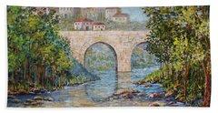 Ancient Bridge Bath Towel by Lou Ann Bagnall