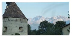 Ancient Building And Mountains Hand Towel