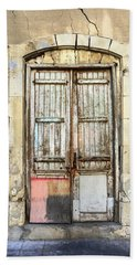 Ancient Wooden Door In Old Town. Limassol. Cyprus Hand Towel
