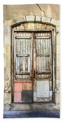 Ancient Wooden Door In Old Town. Limassol. Cyprus Bath Towel