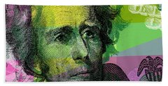 Hand Towel featuring the digital art Andrew Jackson - $20 Bill by Jean luc Comperat