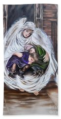 Flying Lamb Productions.        Angel And The Orphans Bath Towel