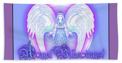 Hand Towel featuring the digital art Angel Blessings #196 by Barbara Tristan