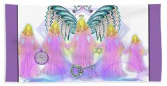 Hand Towel featuring the digital art Angel Cousins #198 by Barbara Tristan