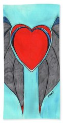 Angel Heart Hand Towel by Ronald Woods
