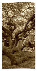 Angel Oak In Sepia Hand Towel by Suzanne Gaff