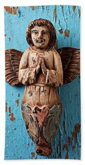 Angel On Blue Wooden Wall Hand Towel