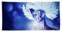 Bath Towel featuring the photograph Angel Wings Venetian Mask With Feathers Portrait by Dimitar Hristov