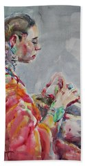 Bath Towel featuring the painting Angelica by Becky Kim