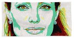 Hand Towel featuring the digital art Angelina Jolie by Charlie Roman