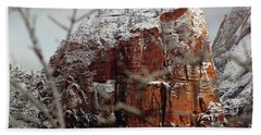 Angels Landing Under Snow Bath Towel by Daniel Woodrum