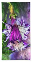 Hand Towel featuring the mixed media Angel's Trumpet by Carol Cavalaris