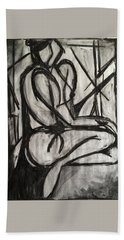 Hand Towel featuring the drawing Angled Repose by Brenda Pressnall