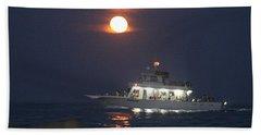 Angler Cruises Under Full Moon Bath Towel